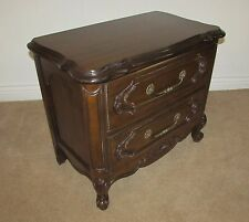 FRENCH PROVINCIAL CARVED WALNUT LOUIS STYLE NIGHTSTAND, TWO DRAWER END TABLE