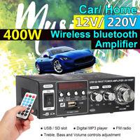 400W bluetooth Digital Stereo Audio Amplifier HIFI USB SD FM Home Car 220V/12V