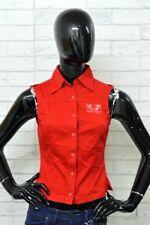 Camicia PLAYLIFE Donna Taglia XS Maglia Chemise Woman Cotone Smanicata Rosso