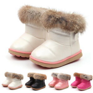 Kid Baby Infant Boy Girl Child Leather Winter Bootie Warm Snow Shoes Boots Comfy