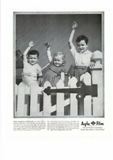 VINTAGE OLD AGFA ANSCO FILM PICTURES PHOTOS THREE CHILDREN PICKET FENCE AD PRINT