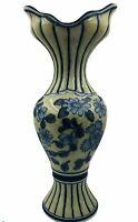 Vintage China Blue & Crackle Antiqued Floral Vase Fine Porcelain Seymour Mann