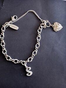 "JAMES AVERY ~STERLING  SILVER 925~ LETTER""  S"" & Avery Charm Bracelet ~ 6.10 In."