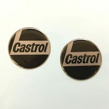 Domed Resin Gel CASTROL OIL CLASSIC RETRO Stickers x 2 - 30mm Dia. Exterior Use