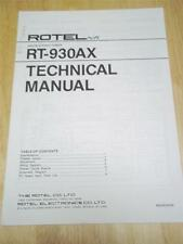 Rotel Service/Technical Manual~RT-930AX Tuner ~Original~Repair