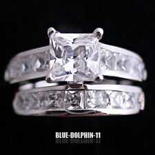 Genuine Real Solid 9ct White Gold Engagement Wedding Rings Set Simulated Diamond
