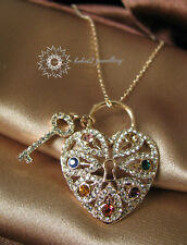 Heart&Key Pendant&Necklace/18K  Gold Plated/Crystals/Colorful/RGN296G