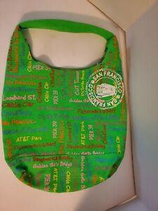 """San Francisco CA Purse Tote Bag Reusable Canvas Green w  Shoulder Strap 12 x 16"""""""