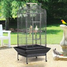 Extra Large Metal Parrot Cage Bird Cage For African Greys With Playtop In Black
