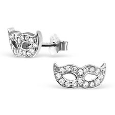 Sterling Silver Micro Pavé Setting Mask Ear Studs With Cubic Zirconia
