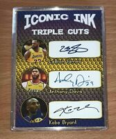 Lebron James Kobe Bryant Anthony Davis Auto Reprint Autograph Basketball Card