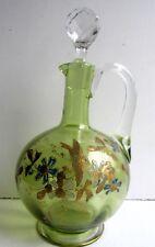 Carafe aiguière cristal vert et Or émaillée Legras: Fleurs et Oiseau en vol