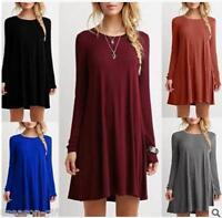 NEW Women Lady Casual Cewneck Long Sleeve Dress Solid Color Loose Slim Dress GW