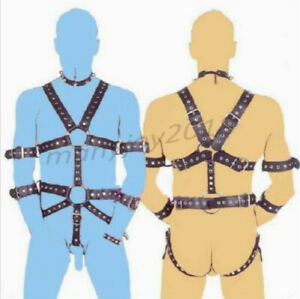 Men PU-Leather Strap Full Body Suit Harness Gay Interest Clubwear Party Costume