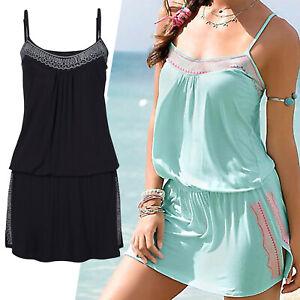 wow MARKEN Mini Kleid schwarz Gr.34/36 Sommerkleid Jersey Shirtkleid Stickerei