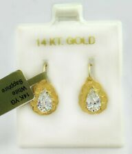 WHITE SAPPHIRE 1.60 Cts DANGLING EARRINGS 14k YELLOW GOLD * * NWT * *