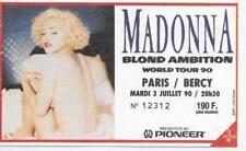 RARE / TICKET BILLET DE CONCERT - MADONNA : LIVE A PARIS ( FRANCE ) 1990