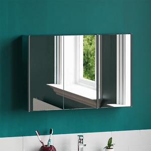 Bathroom Cabinet Triple Door Wall Mount Mirror Storage Cupboard Stainless Steel