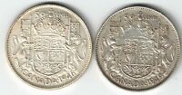 2 X CANADA 50 CENTS GEORGE VI .800 SILVER COINS 1946 DESIGN 1949 HOOF 9