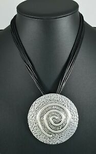 Black Multi Cord Antique Silver Chunky Hammered Round Lagenlook Necklace