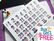 PP456 -- American Flag Date Covers Life Planner Stickers for Erin Condren 35pcs
