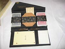 Vintage Bridge Set Skai Hide Advertising Clutch Cards Score Pad Coasters EXC