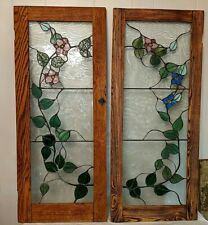 """Vintage Antique Pair Stained Glass Windows Doors Pink Blue Green Clear 40"""" x 17"""""""