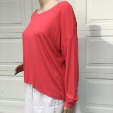Eileen Fisher Small S  Coral Red Rayon Jersey Tunic Top Shirt High Low