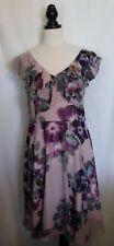 CITY CHIC ~ Purple Mauve Black Violet Floral Frilled Neckline Spring Dress M