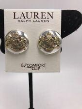 $35 Lauren ralph lauren two tone crest button clip on earrings L30
