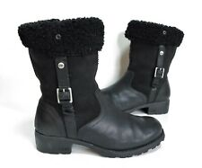 Ladies UGG Black leather Sheepskin lined Boots Size 5 Excellent Cond
