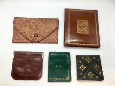 Vintage Green and Gold Italian Leather Origami Coin Change Purse, + Other Items