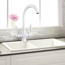 Luxury White Kitchen Sink Mono Mixer Tap Twin Lever Swivel Spout Chrome Brass