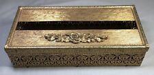 Vintage Gold Tone Filigree Metal Tissue Box Cover Rose Design Hollywood Regency