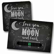 BABY BATH & ROOM THERMOMETER -MOON & BACK CHALKBOARD SET