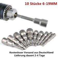 """10-tlg Steck Nuss Bitsatz 6-19mm 1/4"""" Bit Magnet Steckschlüssel Satz lang Bohrer"""