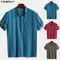 Mens Stripe Cotton Festival Shirt Sleeved Hippy Collarless Grandad Shirt Top Tee