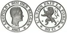 Belgium  20 centimes 1861 QP en argent refrappe médaille