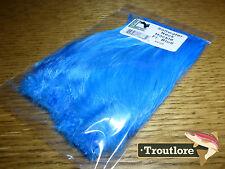 FLUORO BLUE SALTWATER NECK HACKLE HARELINE DUBBIN - NEW SALT FLY TYING FEATHERS