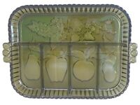 Indiana Glass Vintage Green Fruit Divided Tray Relish Platter Serving Dish Olive