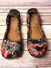 Lucky Brand Erin Slip On Ballet Flats Stretch Multicolor Black Red Print Size 6