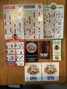 6 Chicago Blackhawk Magnet & Pocket Schedules, 2 Stickers & A '94 Ticket Stub