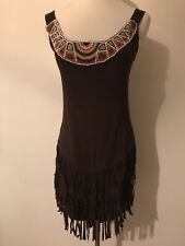 BEADED NATIVE AMERICAN INSPIRED FAUX SUEDE SLEEVELESS TOP WITH FRINGE SIZE S