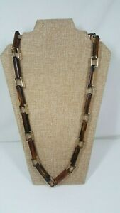 "Faux-Tortoise Lucite Plastic Gold Plated Rectangle Chain Link Necklace 28"" Long"