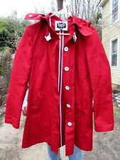 D&G DOLCE GABBANA Red Trench Coat with White Buckle Size 40 Raincoat