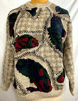 Northern Isles Vintage 80s Fish Sweater Hand Knitted Crewneck XL