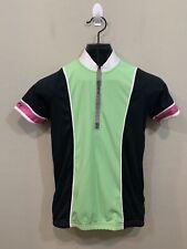 Canari Green Black Purple Short Sleeve Zip Pockets Cycling Jersey Women's Size M