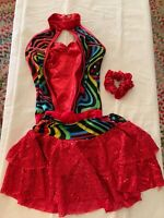 Kids Red Size Medium Dance Costume With Skirt And Scrunchie