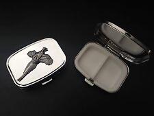 Small Pheasant B8 English Pewter on Emblem Rectangular Travel Metal Pill Box