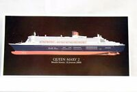CUNARD QUEEN MARY 2 - Maiden Voyage 2004 COLOUR POSTCARD